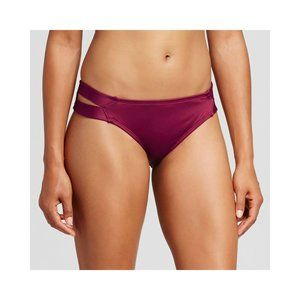 Deep Red Bikini Bottom With Cut Out Details